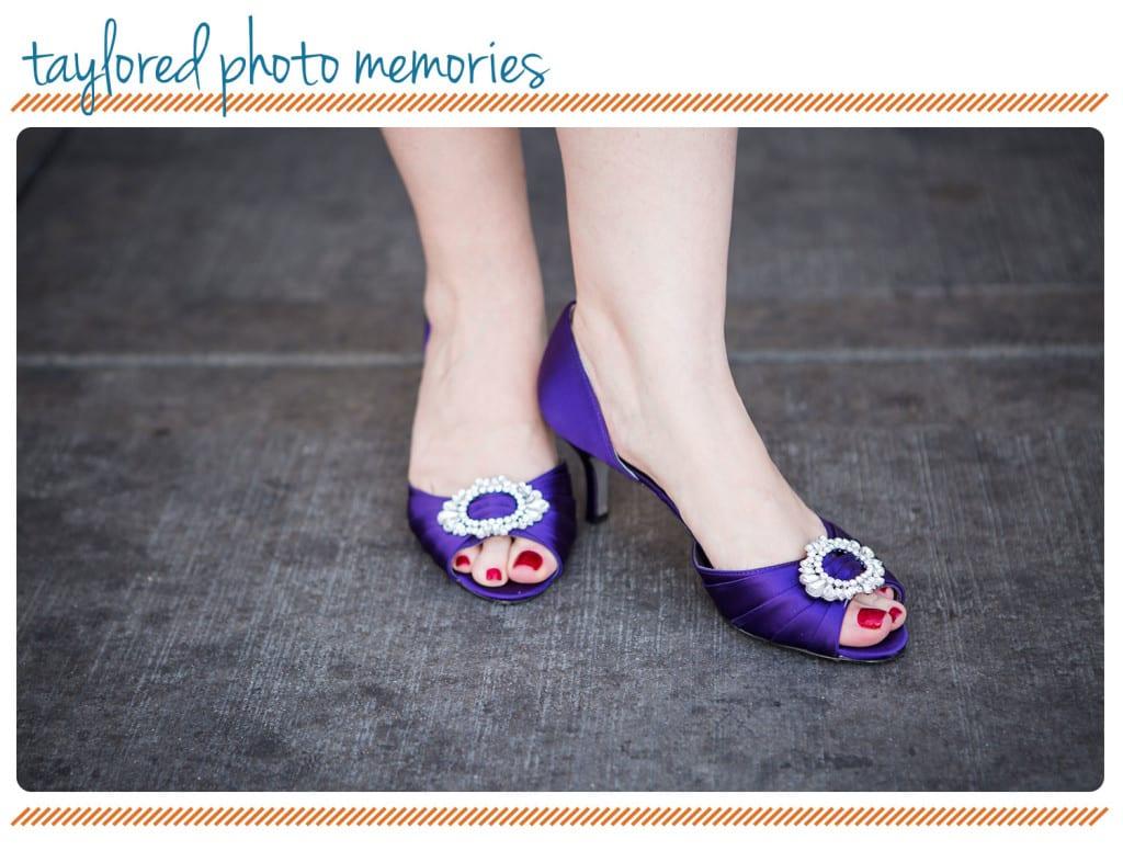 Purple Bridal Shoes - Downtown Las Vegas wedding