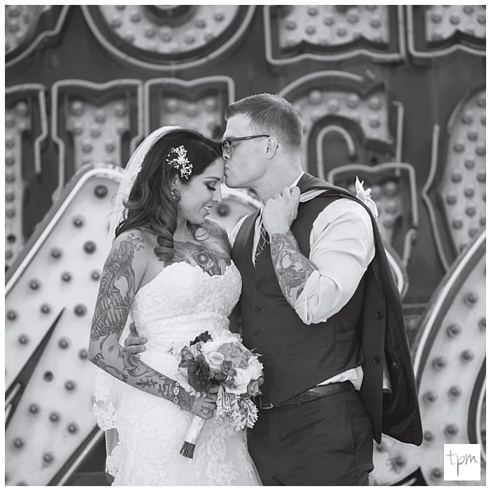 The Little White Wedding Chapel: Tattooed Couple Weds At Little White Wedding Chapel + Neon