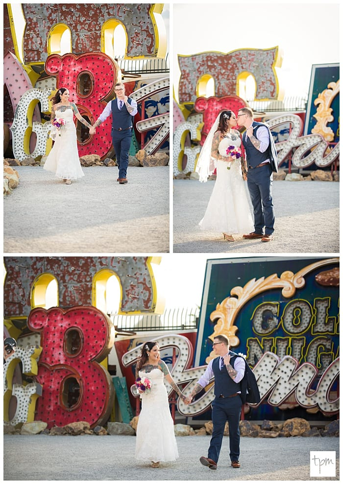 Tattooed Couple Weds At Little White Wedding Chapel Neon Museum Pictures Las Vegas
